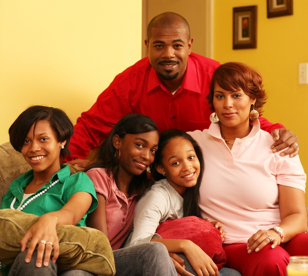 Photo of an african-american family of five.